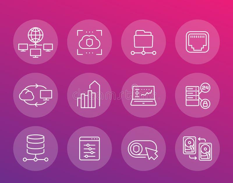 Server, Netzlösungen und Hosting zeichnen Ikonen stock abbildung