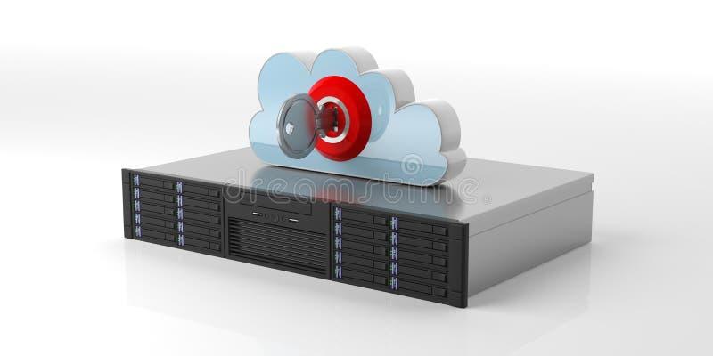 Server och moln för datorlagring med låset på vit bakgrund illustration 3d royaltyfri illustrationer