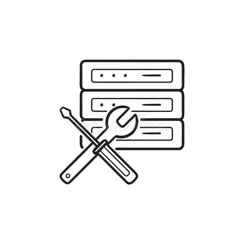 Server och skruvnyckel med symbolen för klotter för översikt för skruvmejselhand den utdragna vektor illustrationer
