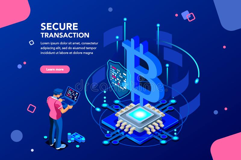 Cryptocurrency Server Haking Isometric Concept vector illustration