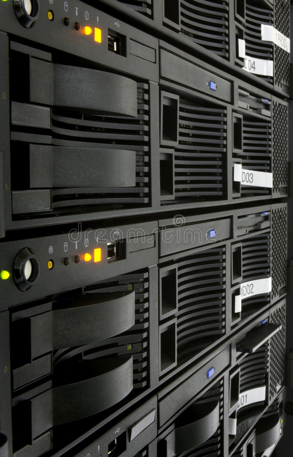 Server Rack. Close up of powered on server rack