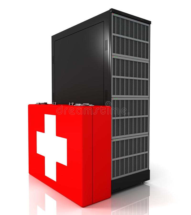Server rack and first aid kit royalty free illustration