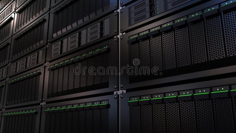 Server racks. Cloud storage technology or modern data center concepts. 3D rendering. Server racks. Cloud storage technology or modern data center concepts royalty free illustration