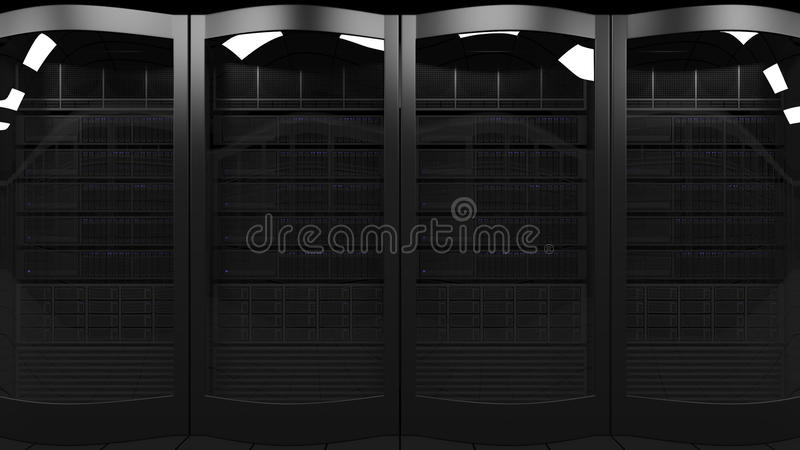 Server racks 3D rendering. Cloud technologies, ISP, corporate IT, ecommerce business concepts. Server room. Cloud technologies, ISP, corporate IT or ecommerce stock photo