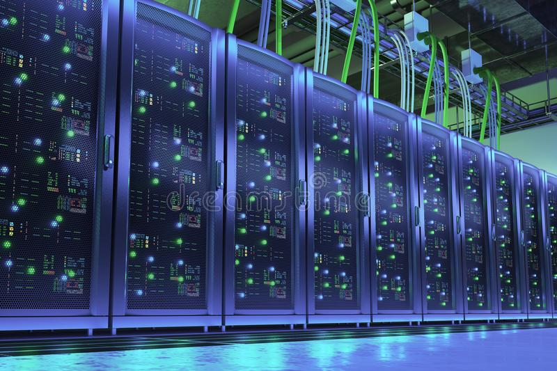 Server racks in data center. Digital technologes stock illustration