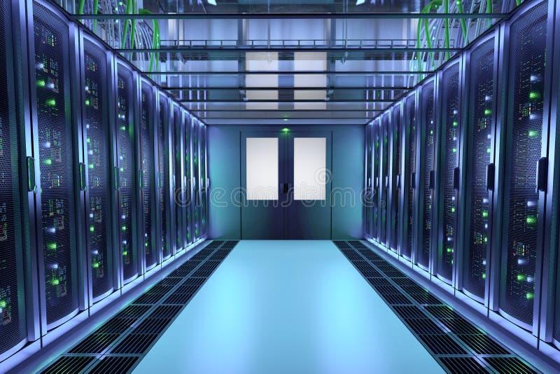 Server racks in data center hall. Communication equipment stock illustration