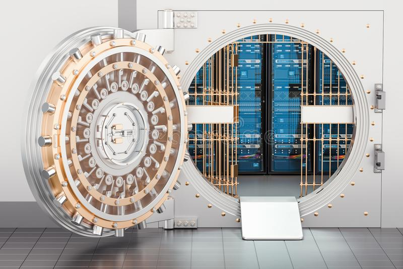 Server racks inside bank vault. Security and protection concept, 3D rendering stock illustration
