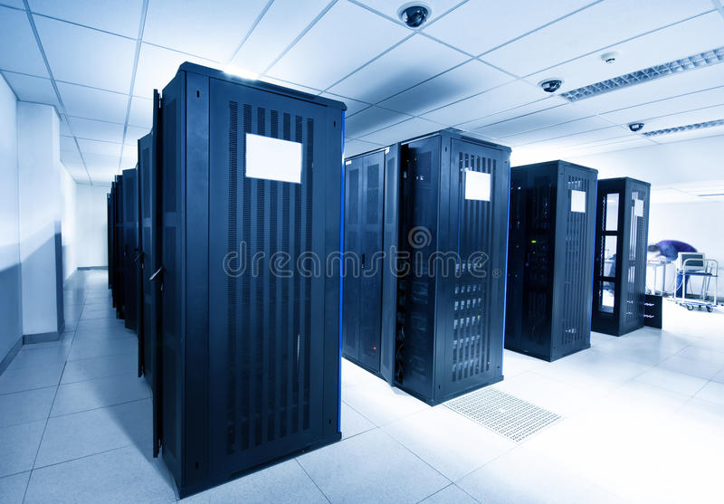 Server room. A server room with black servers