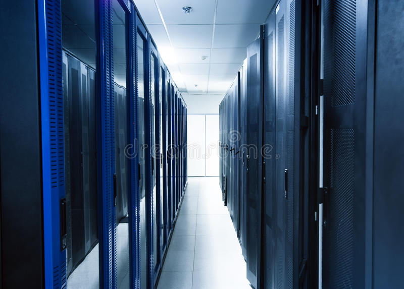 Server room. A server room with black servers