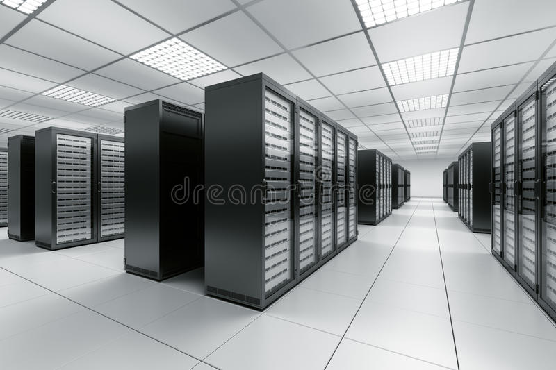 Server room. 3d rendering of a server room with black servers