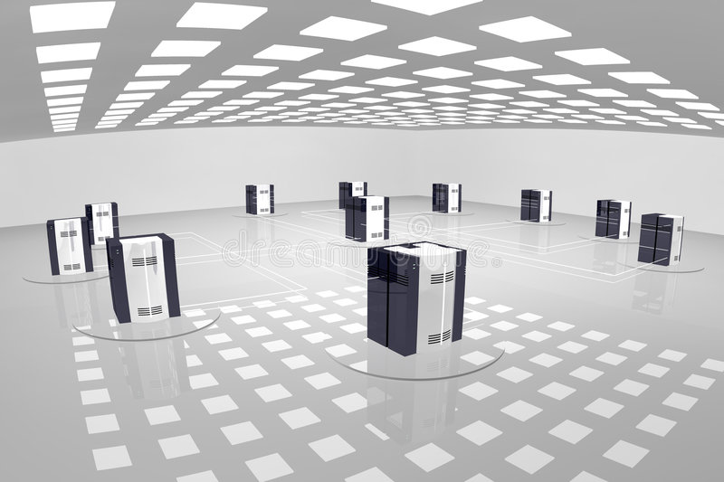 Server room vector illustration
