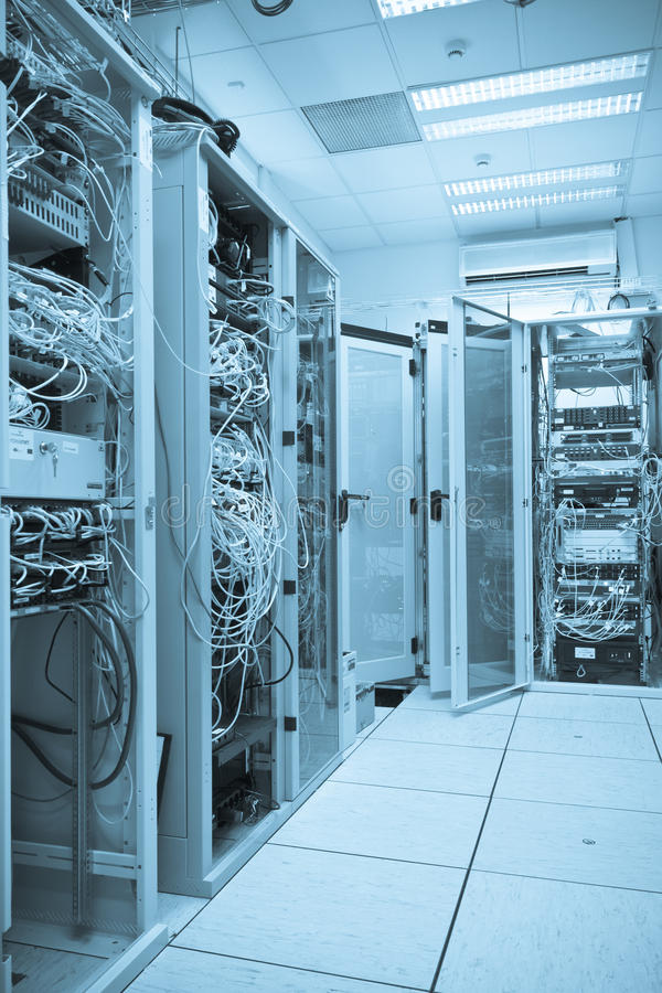 Server room. Filled with with racks stock images