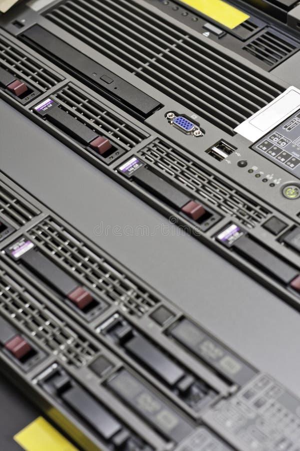 Server Room. Macro shot of a modern Data Server rack stock image