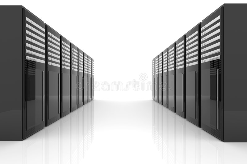 Server Room. 3D Illustration. Isolated on white