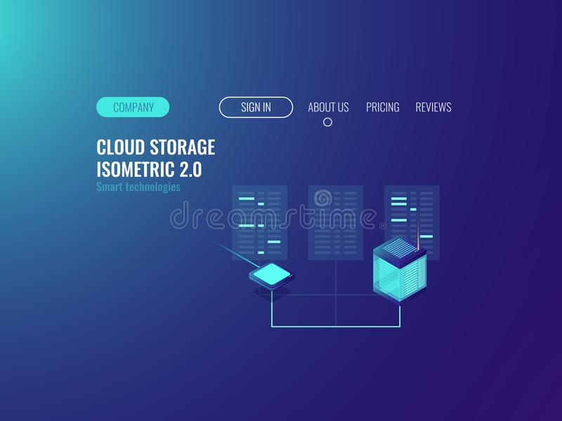 Server room banner, proxy vpn technology, cloud data center datase, blockchain concept, hoting online neon dark stock illustration
