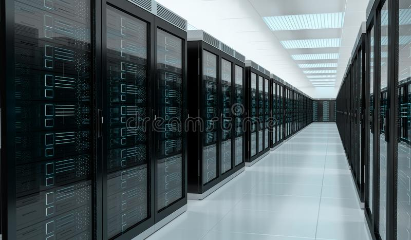 Server room center exchanging cyber datas 3D rendering. Server room center exchanging cyber datas and connections 3D rendering royalty free illustration