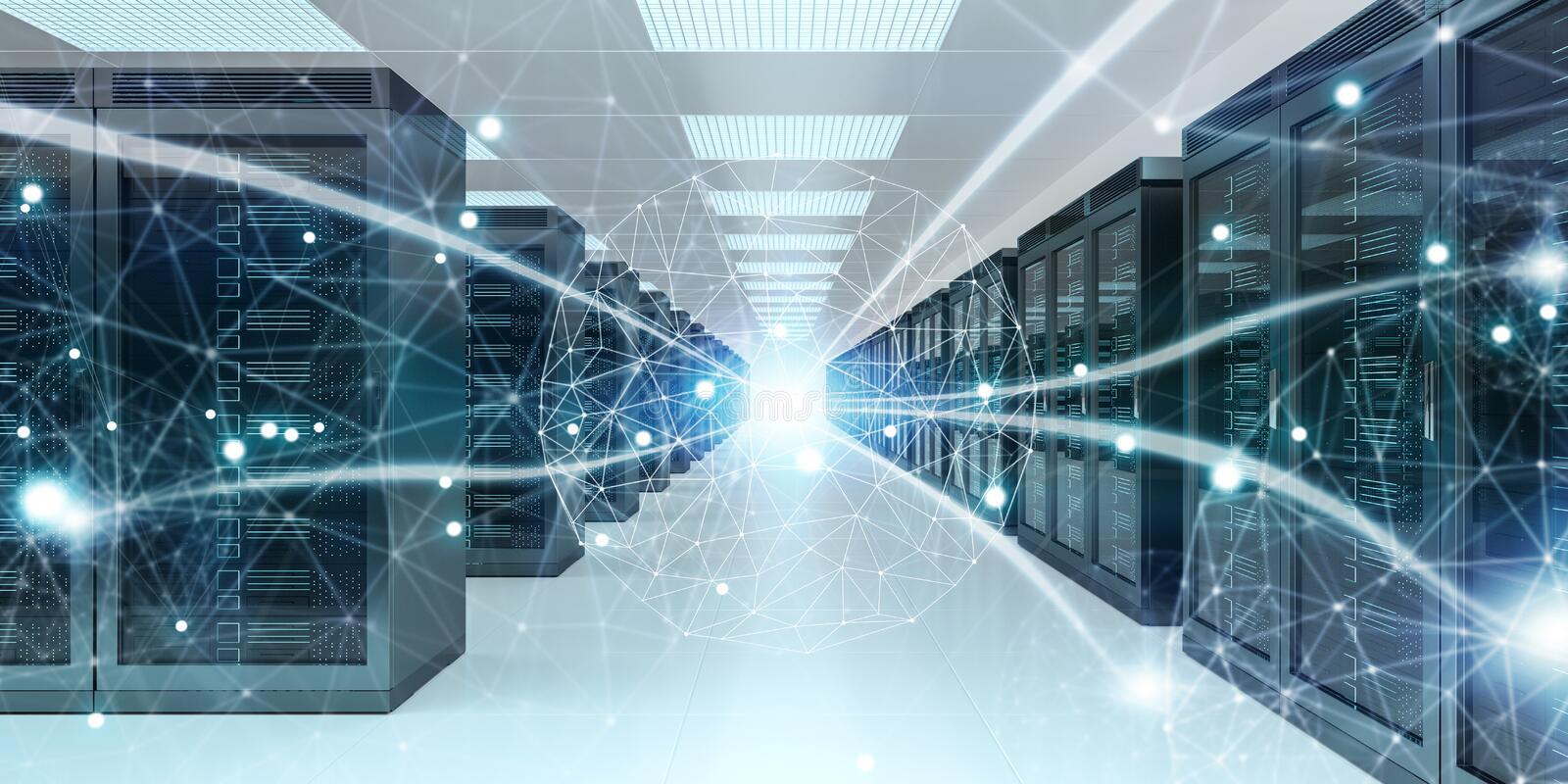 Server room center exchanging cyber datas 3D rendering. Server room center exchanging cyber datas and connections 3D rendering vector illustration