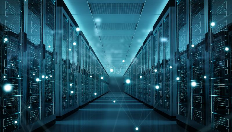 Server room center exchanging cyber datas 3D rendering. Server room center exchanging cyber datas and connections 3D rendering stock illustration
