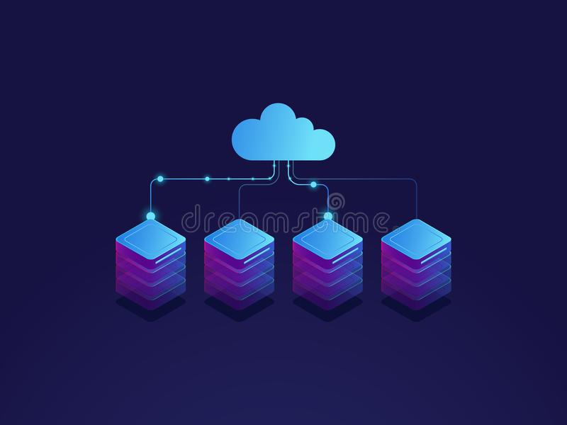 Server room, cloud storage icon, datacenter and database concept, data exchange process isometric. Dark vector vector illustration
