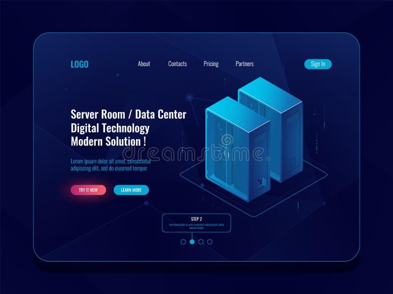 Server room and cloud storage isometric icon, big data center, database visualization, data flow dark neon vector royalty free illustration