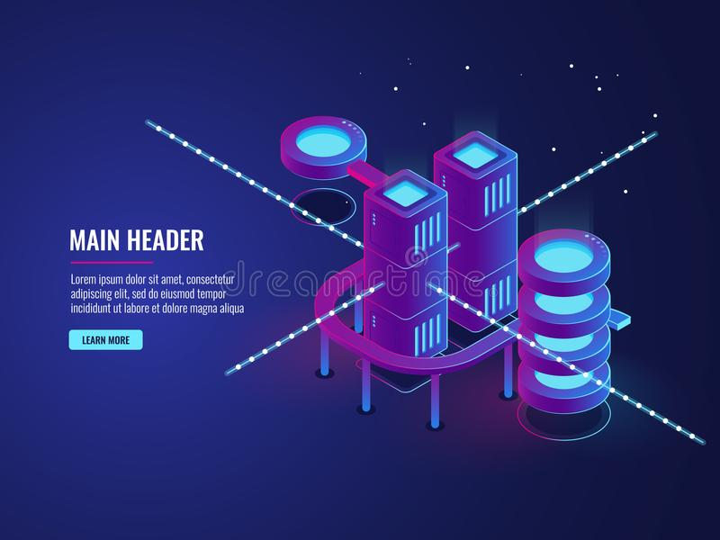Server room concept, smart city banner, traffic data processing and cloud storage, digital technology stock illustration
