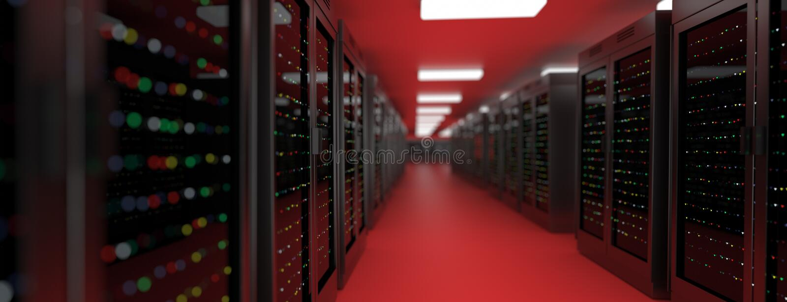 Server room data center. Backup, hosting, mainframe, farm and computer rack with storage information. Server racks in server room cloud data center. Exit door royalty free illustration