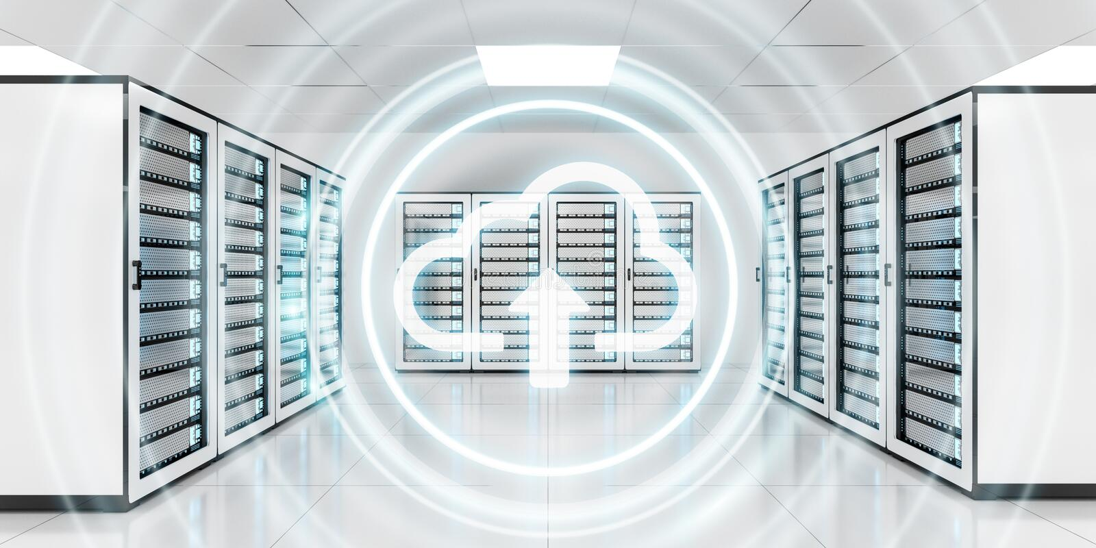 Server room data center with cloud blue icon 3D rendering vector illustration