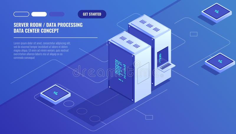 Server room, data center, Concept of cloud storage, data transfer, data transfer scheme isometric vector. Technology royalty free illustration