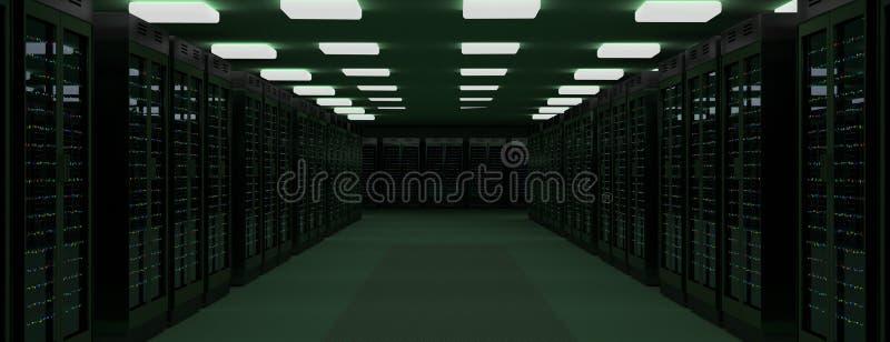Server room data center. 3D rendering. Server racks in server room cloud data center. Datacenter hardware cluster. 3d render. Backup, hosting, mainframe, farm royalty free stock photography