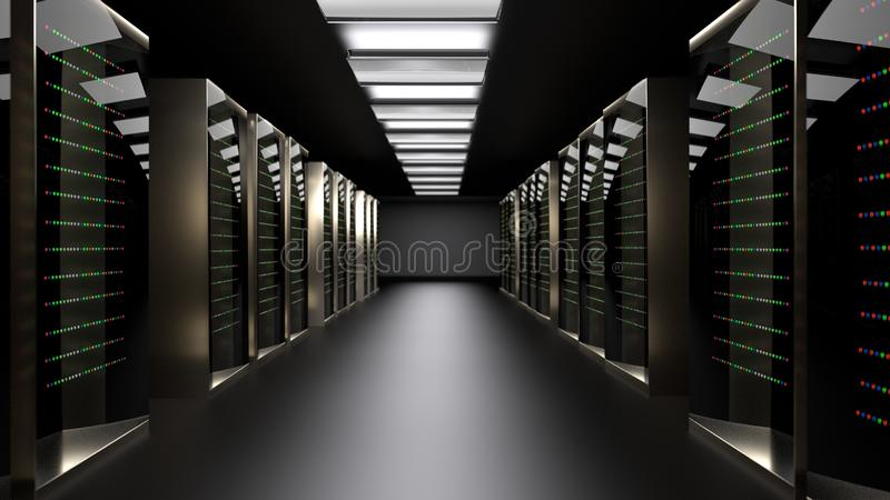 Server room data center. 3D rendering. Server racks in server room cloud data center. Datacenter hardware cluster. 3d render. Backup, hosting, mainframe, farm royalty free stock images