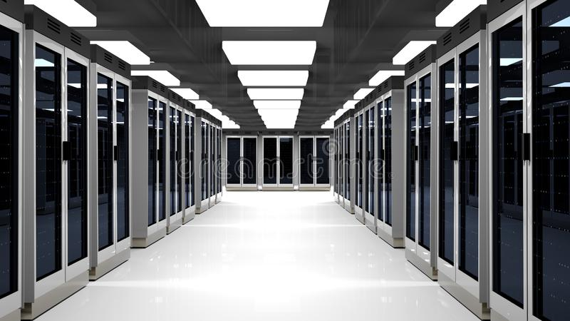 Server room data center. 3D rendering. Server racks in server room cloud data center. Datacenter hardware cluster. 3d render. Backup, hosting, mainframe, farm stock illustration