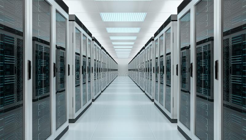 Server room data center interior 3D rendering royalty free illustration