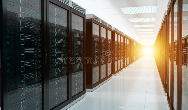 Server room data center interior 3D rendering. Bright server room data center storage interior 3D rendering stock illustration