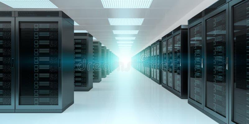Server room data center interior 3D rendering. Bright server room data center storage interior 3D rendering royalty free illustration