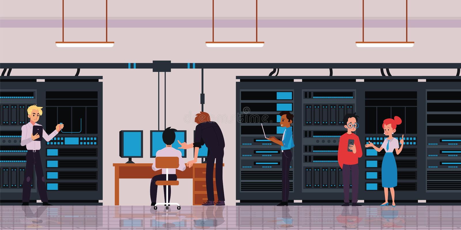Server room or data center with technology workers flat vector illustration. Server room or data center with characters of technology engineers or IT workers stock illustration