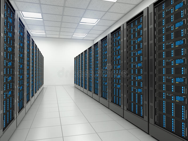 Server room in datacenter. vector illustration