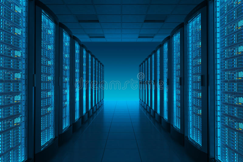 Server room in datacenter. vector illustration