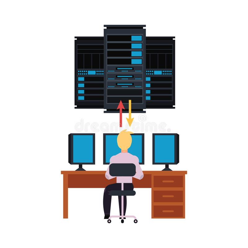 Server room and it engineer working pc illustration with data center storage and young system administrator. Connecting network. Telecommunication and computer stock illustration