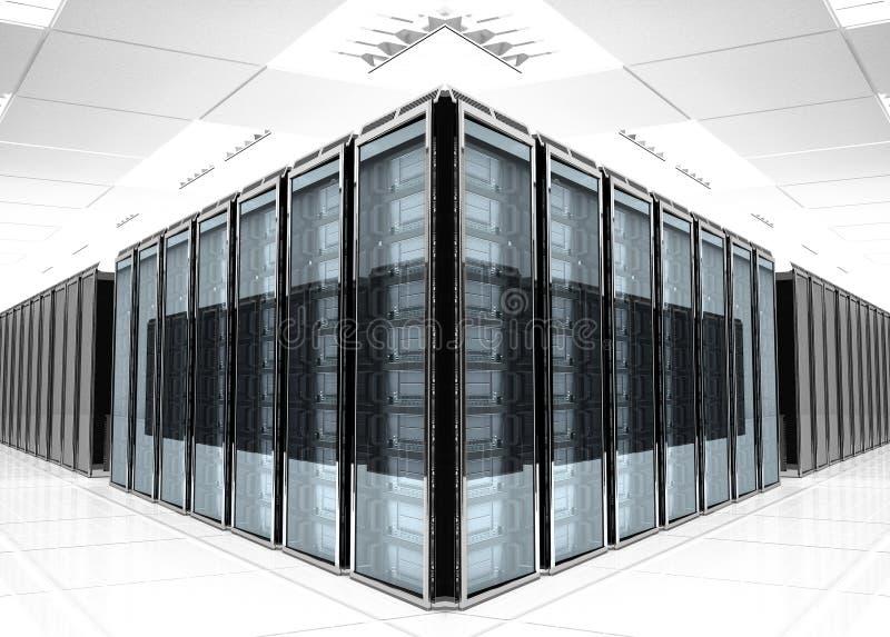 Server room Interior. On white reflective background
