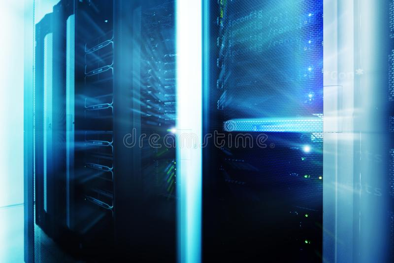 Server room interior in datacenter, multi exposure futuristic design. Web network, internet telecommunication technology, big data royalty free stock images
