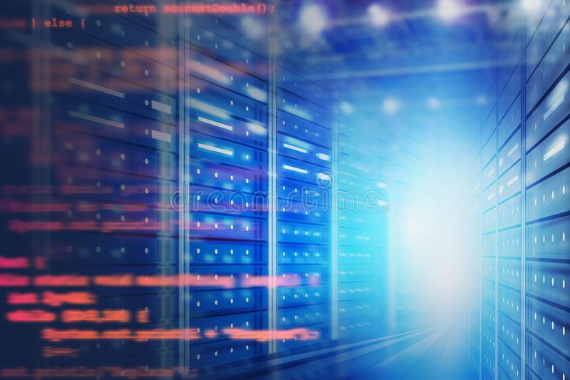 Server room interior with lines of code. Interior of server room with blurred lines of code. Concept of hi tech, big data and cloud computing in business. 3d vector illustration