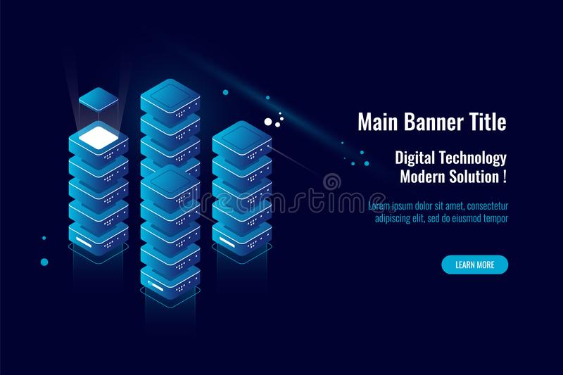 Server room, isometric icon big data processing, data cloud storage warehouse, database concept, hosting and virtual royalty free illustration