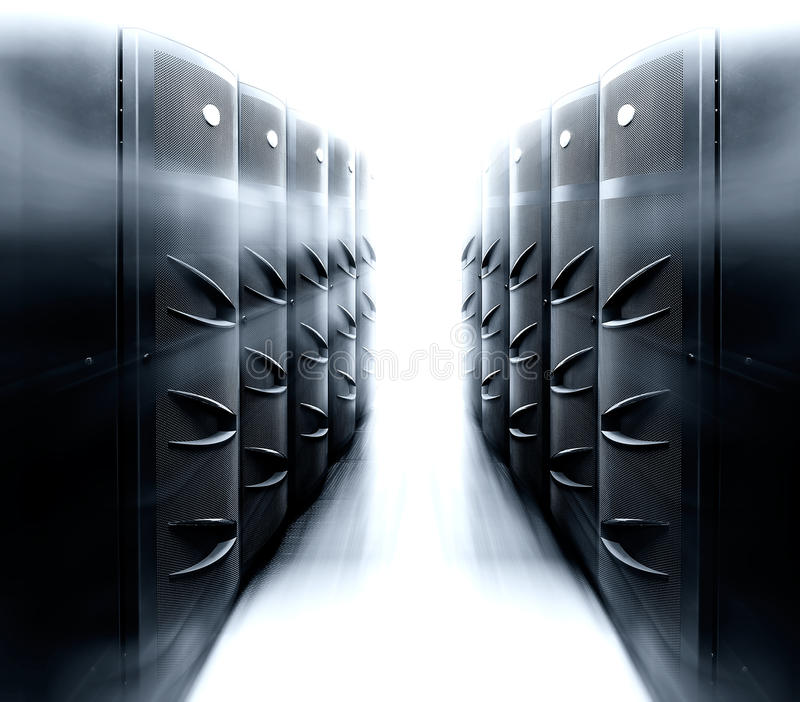 Server room with modern mainframe equipment in data center royalty free stock photo