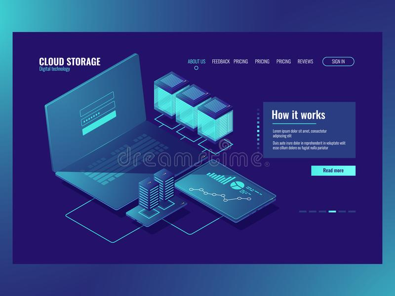 Server room, Operations with data, network connection, cloud storage technology big data processing, data center. Database access icon dark neon isometric royalty free illustration