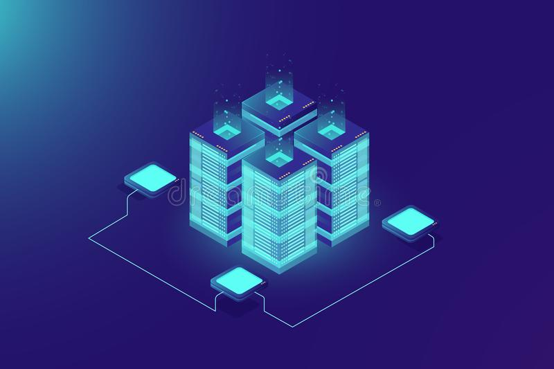 Server room rack, blockchain technology, token api access, data center, cloud storage concept, data axchange protocol. Server room rack, blockchain technology stock illustration