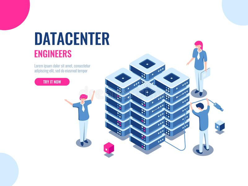 Server room rack, database and data center, cloud storage, blockchain technology, engineer, teamwork cartoon isometric. People vector illustration vector illustration