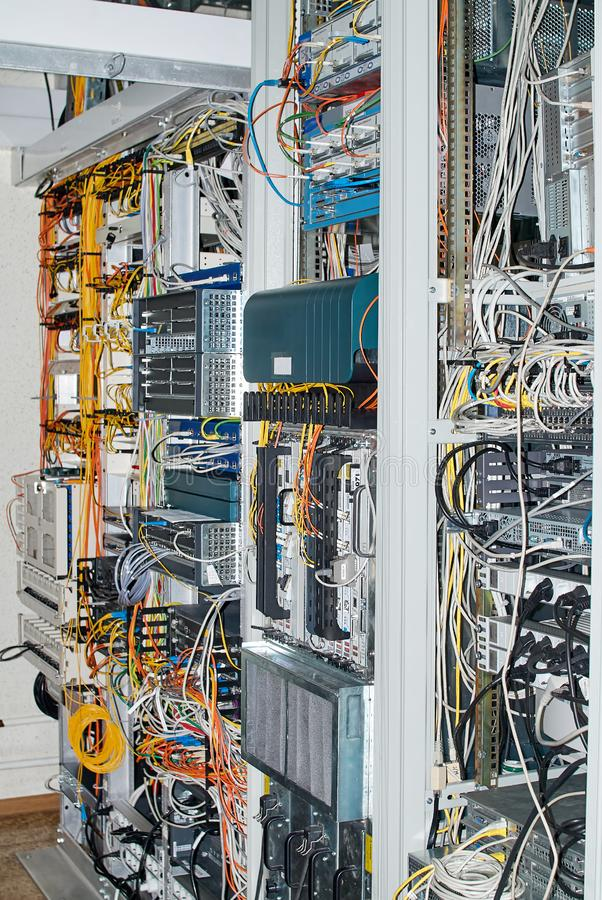 Server Room With Rack Mounted Routers Switches And Communication. Equipment royalty free stock image