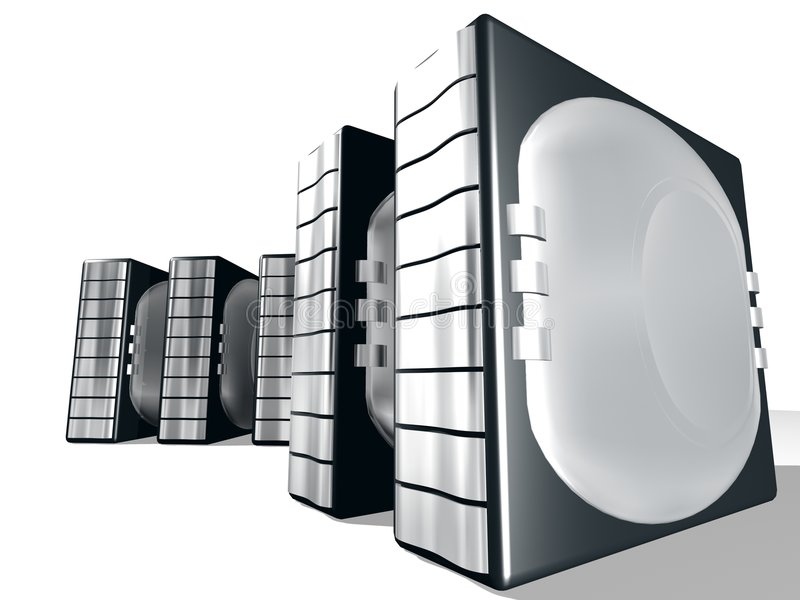 Server With Silver metal stock illustration