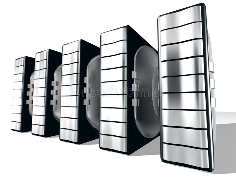 Server With Silver metal vector illustration