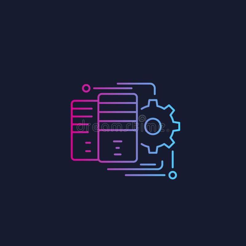 Server som är värd, symbol för nätverkskonfiguration stock illustrationer
